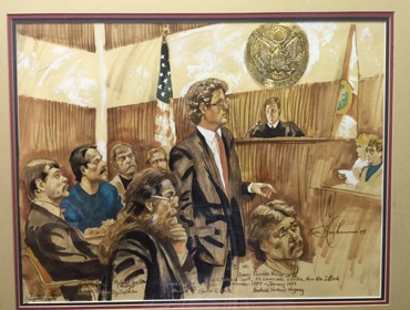 Artist rendering of Charles G. White in Court during one of his high profile and notable cases.